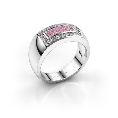Foto van Mannen ring Lorenzo 925 zilver roze saffier 1.1 mm