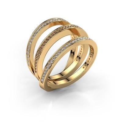 Foto van Ring Jaqueline 585 goud bruine diamant 0.55 crt