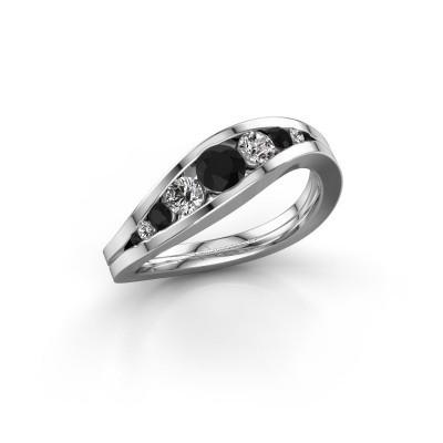 Foto van Ring Sigrid 2 585 witgoud zwarte diamant 0.664 crt