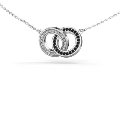 Foto van Halsketting Circles 2 585 witgoud zwarte diamant 0.275 crt