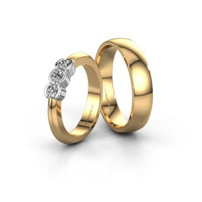Foto van Trouwringen set WHR0006LM25AP ±5x1.7 mm 14 karaat goud diamant 0.10 crt