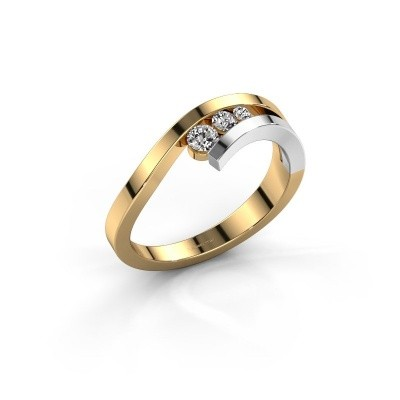 Ring Evalyn 2 585 goud diamant 0.16 crt