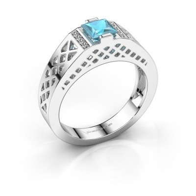 Foto van Heren ring Jonathan 950 platina blauw topaas 5 mm
