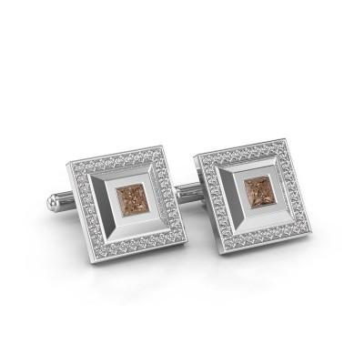 Foto van Manchetknopen Joris 950 platina bruine diamant 1.06 crt