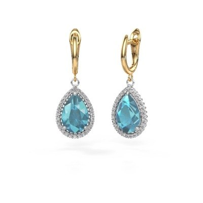 Picture of Drop earrings Hana 1 585 white gold blue topaz 12x8 mm