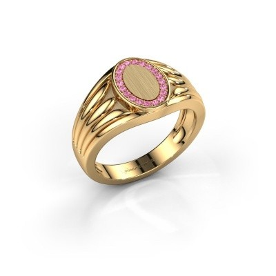Foto van Pinkring Marinus 585 goud roze saffier 1.2 mm