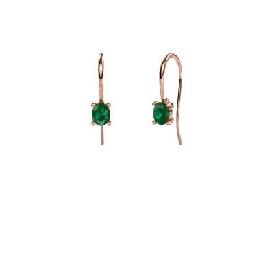 Picture of Drop earrings Cleo 375 rose gold emerald 6x4 mm
