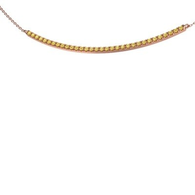Foto van Bar ketting Simona 375 rosé goud gele saffier 1.5 mm