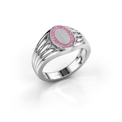 Foto van Pinkring Marinus 950 platina roze saffier 1.2 mm