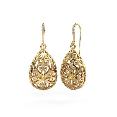 Picture of Drop earrings Idalia 2 585 gold yellow sapphire 2 mm