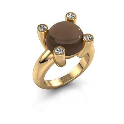 Foto van Ring Janice RND 585 goud rookkwarts 12 mm