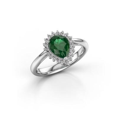 Bild von Verlobungsring Chere 1 585 Weissgold Smaragd 8x6 mm