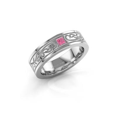 Foto van Heren ring Matijs 950 platina roze saffier 3 mm