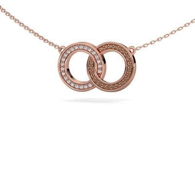 Picture of Necklace Circles 1 375 rose gold brown diamond 0.23 crt