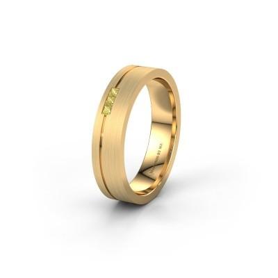 Trouwring WH0158L14X 375 goud gele saffier ±4x1.4 mm