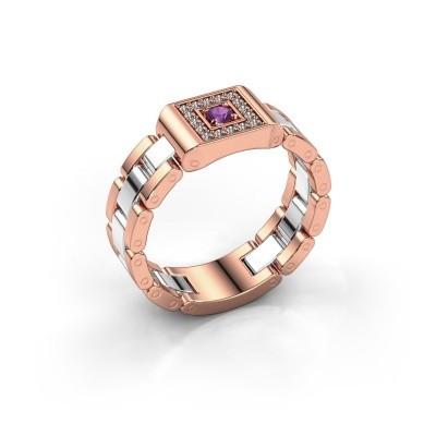 Foto van Rolex stijl ring Giel 585 rosé goud amethist 2.7 mm