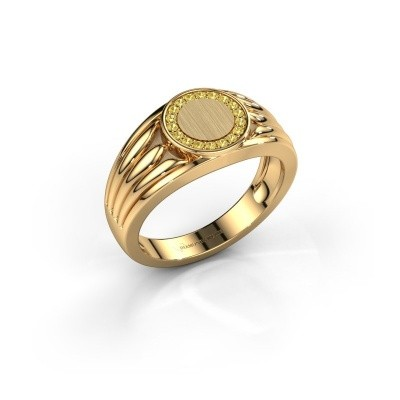 Foto van Pinkring Jacobus 585 goud gele saffier 1.2 mm