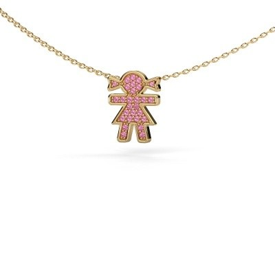 Foto van Collier Girl 585 goud roze saffier 1 mm