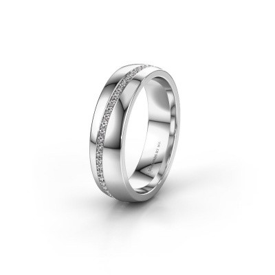 Trouwring WH0109L25A 375 witgoud zirkonia ±5x1.7 mm