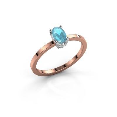 Foto van Ring Lynelle 1 585 rosé goud blauw topaas 6x4 mm
