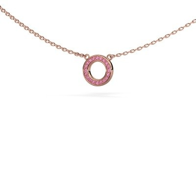Picture of Pendant Round 2 375 rose gold pink sapphire 0.8 mm