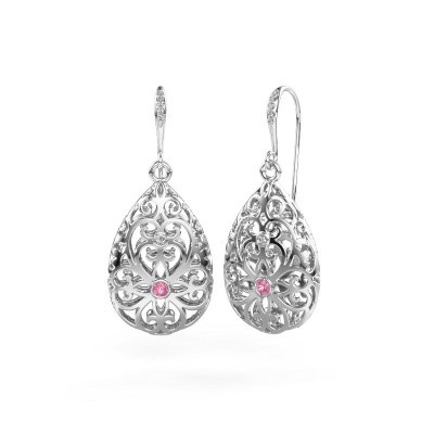 Picture of Drop earrings Idalia 2 585 white gold pink sapphire 2 mm