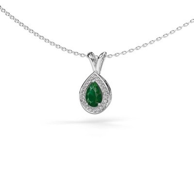 Picture of Necklace Ginger 585 white gold emerald 6x4 mm