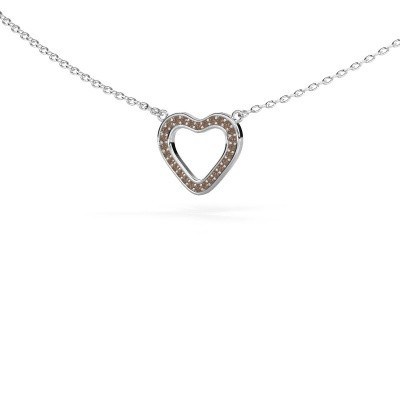 Picture of Pendant Heart 3 925 silver brown diamond 0.07 crt