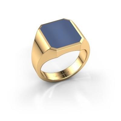 Zegelring Lars 3 585 goud blauw lagensteen 14x12 mm