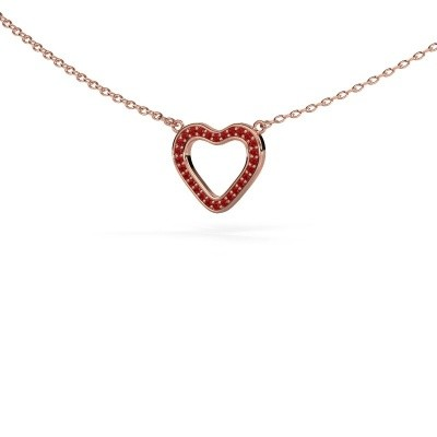 Picture of Pendant Heart 3 375 rose gold ruby 0.8 mm