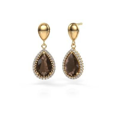 Picture of Drop earrings Cheree 1 585 gold smokey quartz 12x8 mm