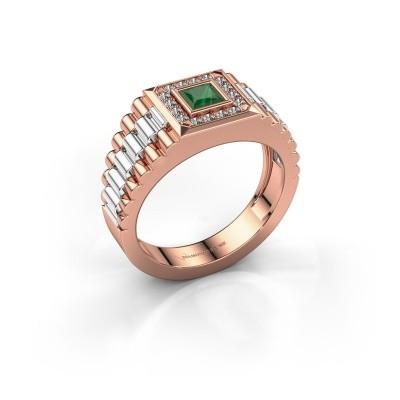 Foto van Rolex stijl ring Zilan 585 rosé goud smaragd 4 mm