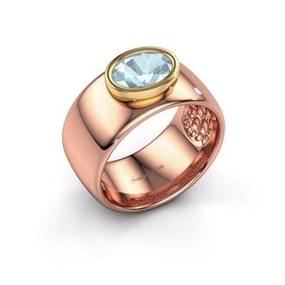 Foto van Ring Anouschka 585 rosé goud aquamarijn 8x6 mm