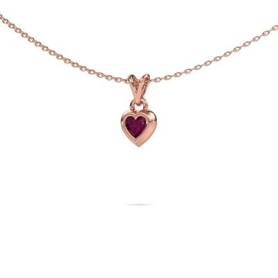 Picture of Pendant Charlotte Heart 375 rose gold rhodolite 4 mm