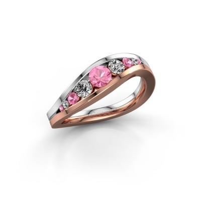 Foto van Ring Sigrid 2 585 rosé goud roze saffier 4 mm
