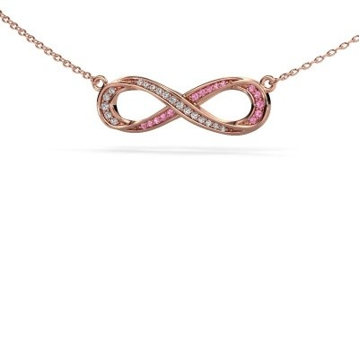 Picture of Necklace Infinity 2 375 rose gold pink sapphire 0.8 mm