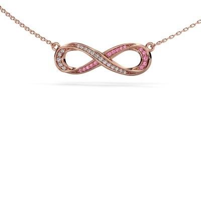 Bild von Halskette Infinity 2 375 Roségold Pink Saphir 0.8 mm