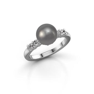 Foto van Ring Cecile 585 witgoud grijze parel 8 mm