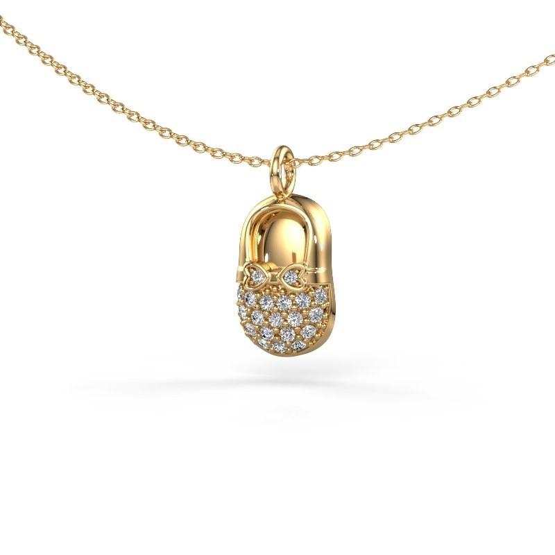 Hanger Babyshoe 585 goud diamant 0.193 crt