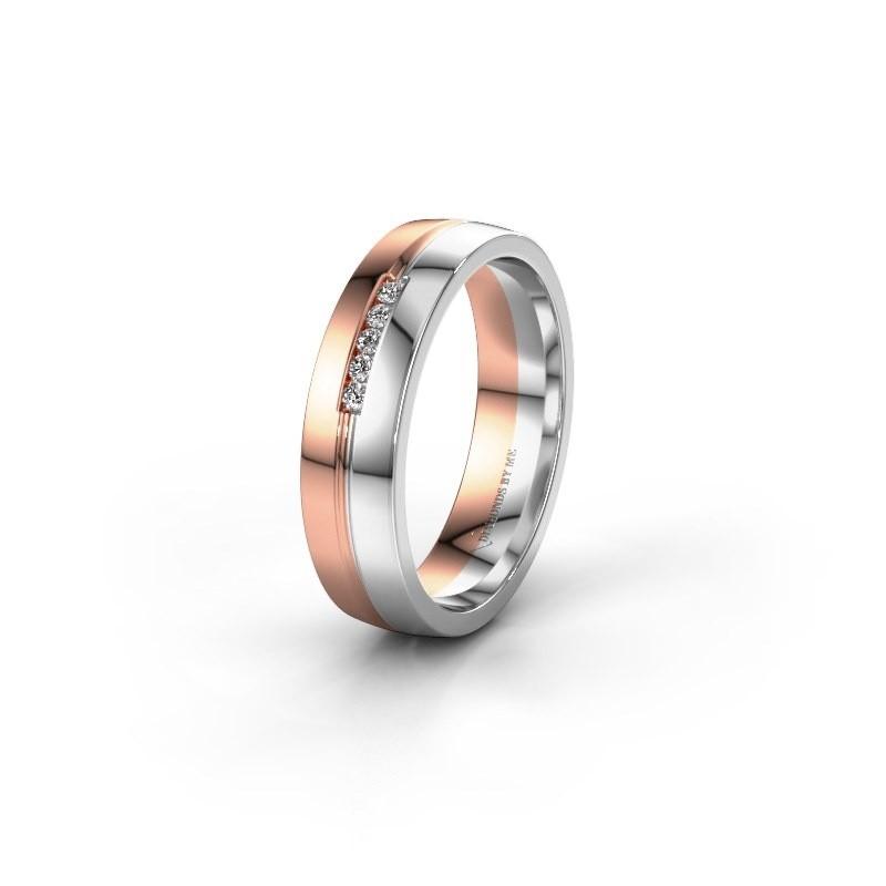 Trouwring WH0132L25B 585 rosé goud diamant ±5x2 mm