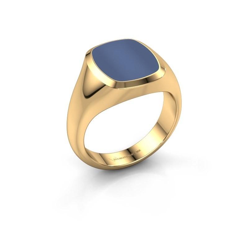 Zegelring Benjamin 2 585 goud blauw lagensteen 12x10 mm