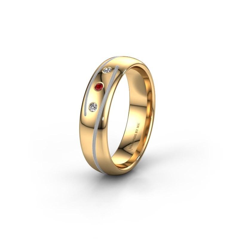 Trouwring WH0152L25A 585 goud robijn ±5x1.7 mm