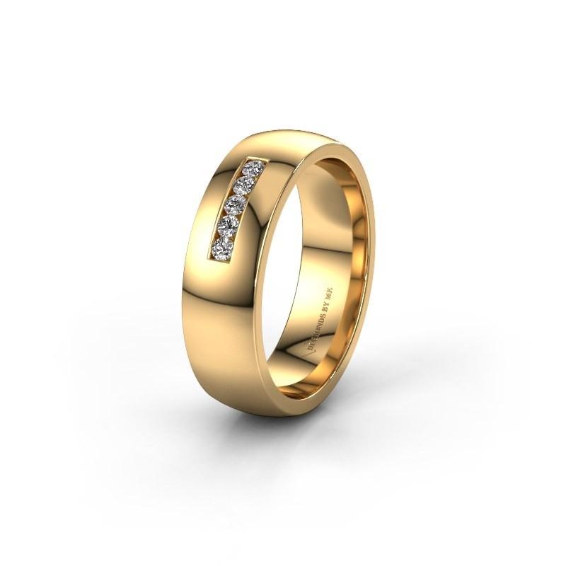 Trouwring WH0107L26BP 585 goud diamant ±6x2 mm
