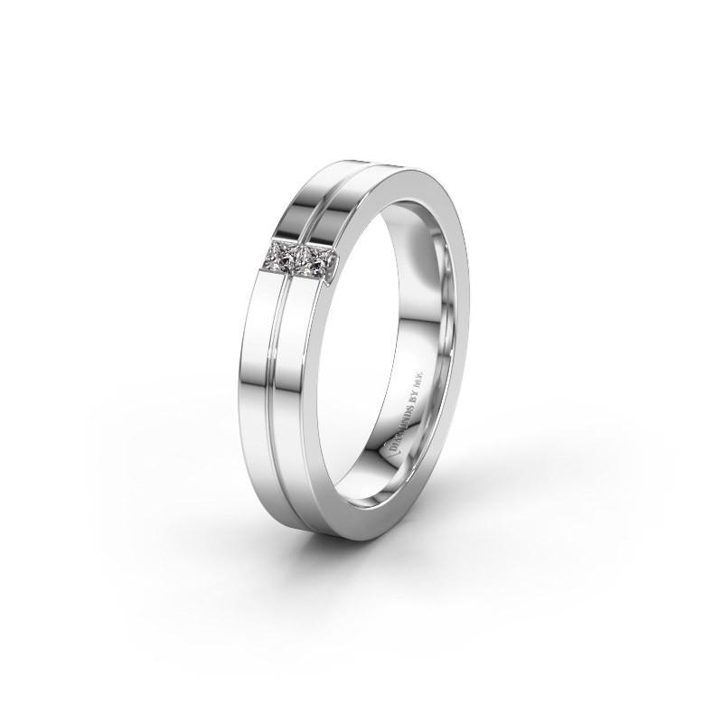 Trouwring WH0225L14B 585 witgoud diamant ±4x2 mm