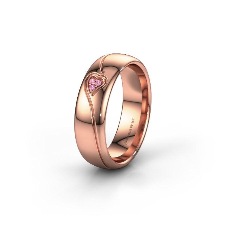 Trouwring WH0168L36AP 585 rosé goud roze saffier ±6x1.7 mm