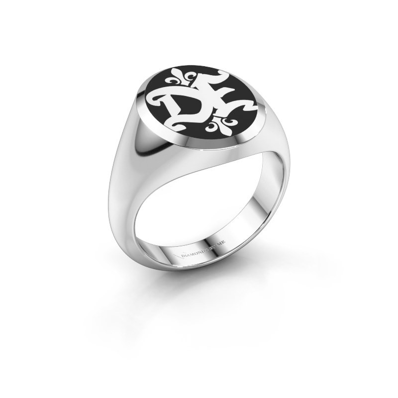 Monogram ring Xandro Emaille 585 witgoud zwarte emaille