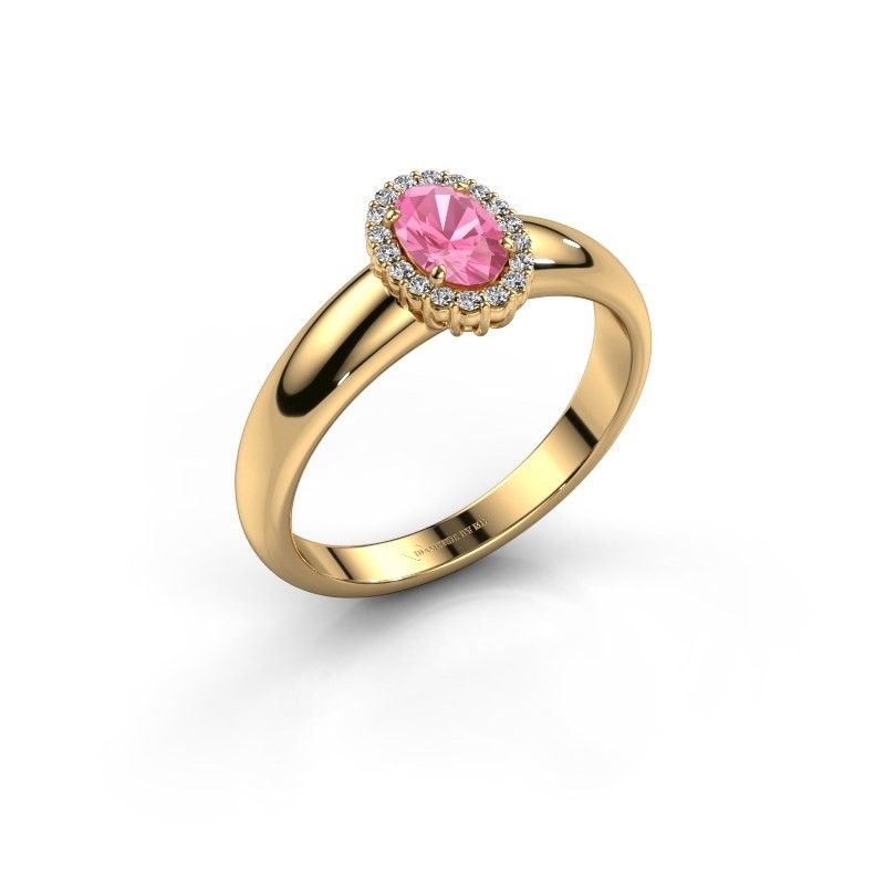 Engagement ring Tamie 750 gold pink sapphire 6x4 mm