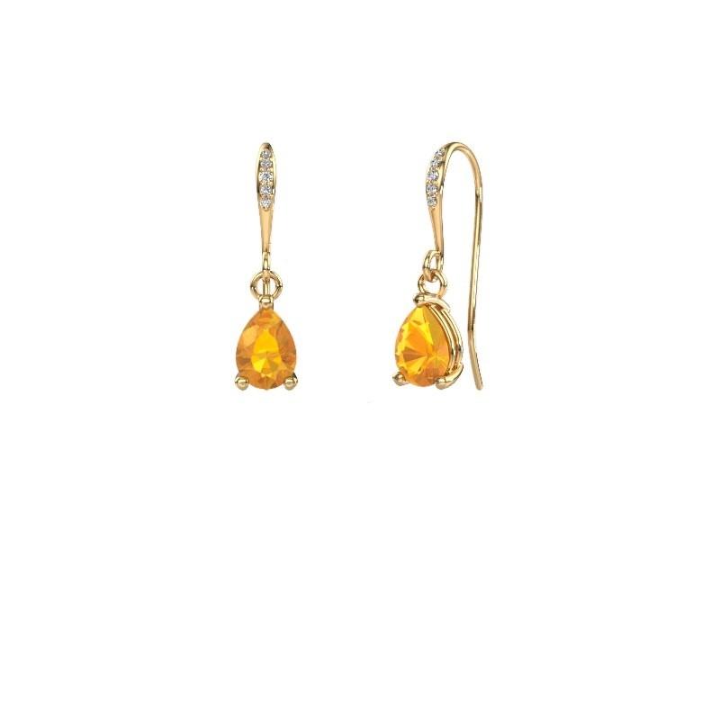 Oorhangers Laurie 2 585 goud citrien 7x5 mm