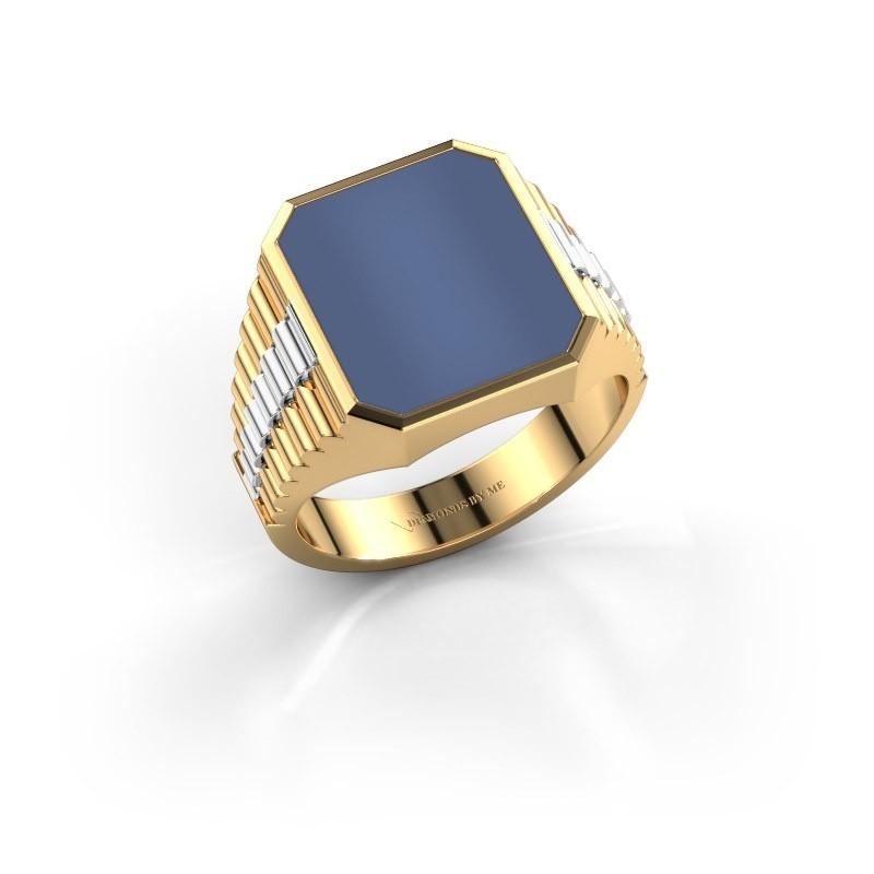 Rolex stijl ring Brent 3 585 goud blauw lagensteen 14x12 mm