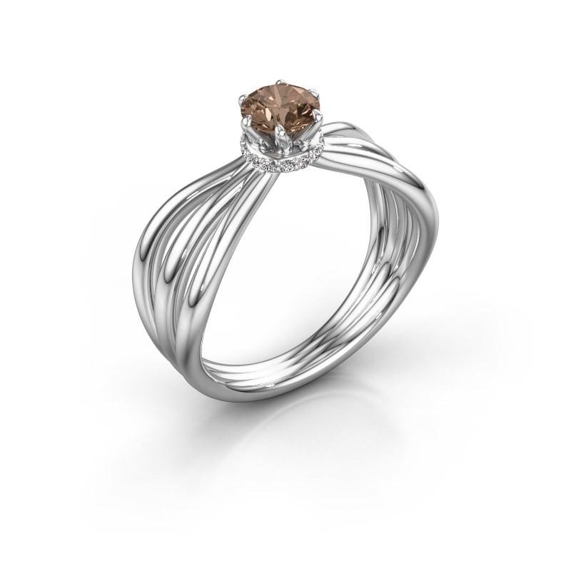 Verlovingsring Kimi 585 witgoud bruine diamant 0.575 crt